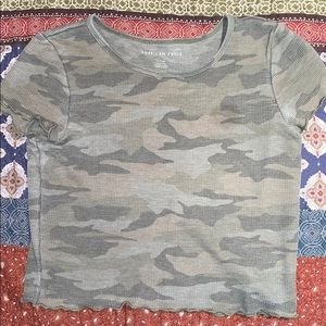 American eagle outfitters green camo crop top